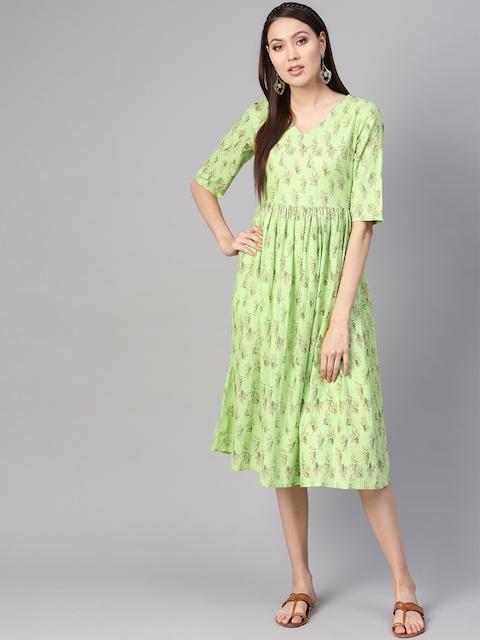 Nayo Women Green & Pink Floral Print A-Line Dress