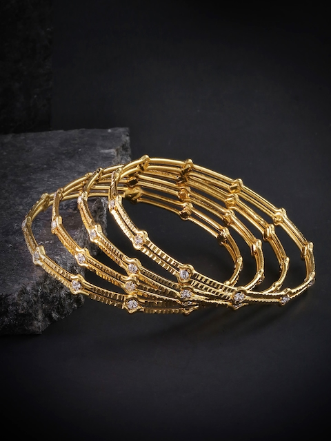 Priyaasi Set of 4 Gold-Plated Stone-Studded Handcrafted Bangles