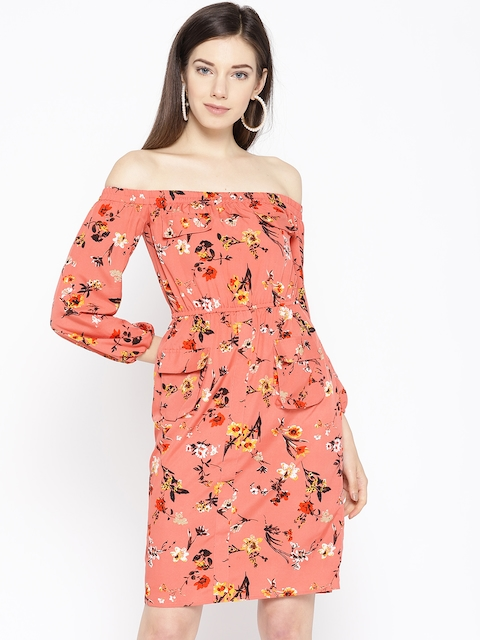 MABISH by Sonal Jain Women Peach-Coloured Floral Print Off-Shoulder Shift Dress