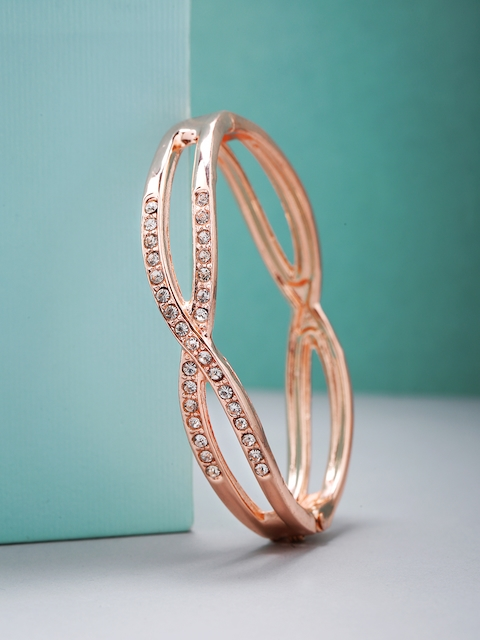 Priyaasi Rose Gold-Plated AD-Studded Handcrafted Bangle Style Bracelet