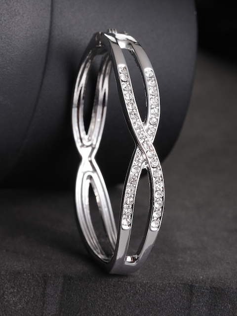 Priyaasi Silver-Plated AD-Studded Handcrafted Bangle Style Bracelet