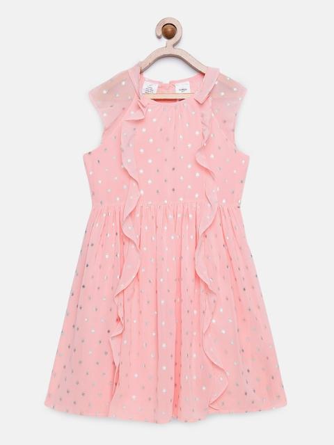OSHKOSH Bgosh Girls Printed Pink A-Line Dress