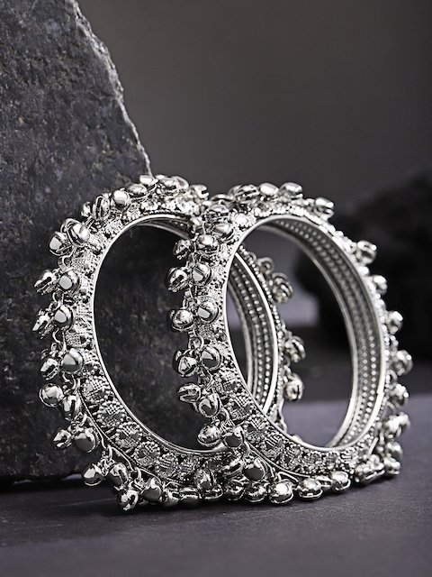 Priyaasi Set Of 2 Silver-Plated Handcrafted Textured Gunghroo Bangles