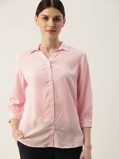 Allen Solly Woman Pink & White Printed Formal Shirt