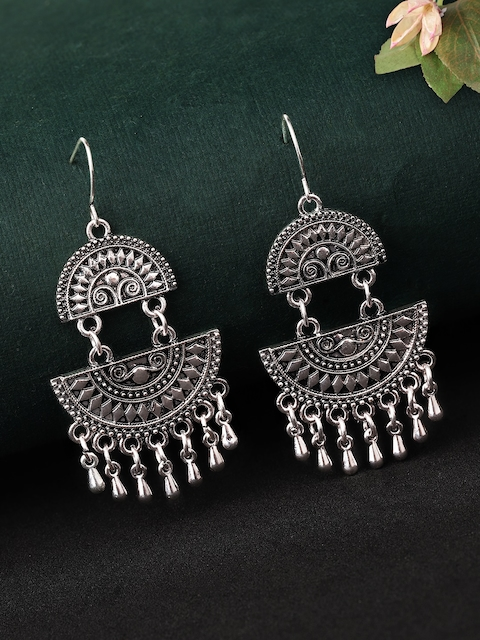 Rubans Women Oxidised Silver-Plated White Handcrafted Feather Shaped Drop Earrings