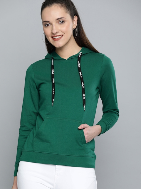 HERE&NOW Women Green Solid Hood Sweatshirt
