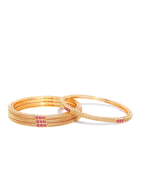 Priyaasi Set of 4 Pink Gold-Plated Stone-Studded Textured Handcrafted Bangles