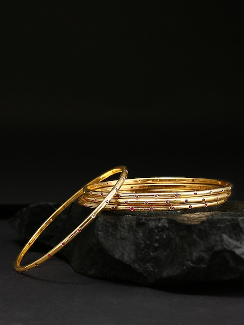 Priyaasi Set of 4 Gold-Plated Stone Studded Handcrafted Bangles