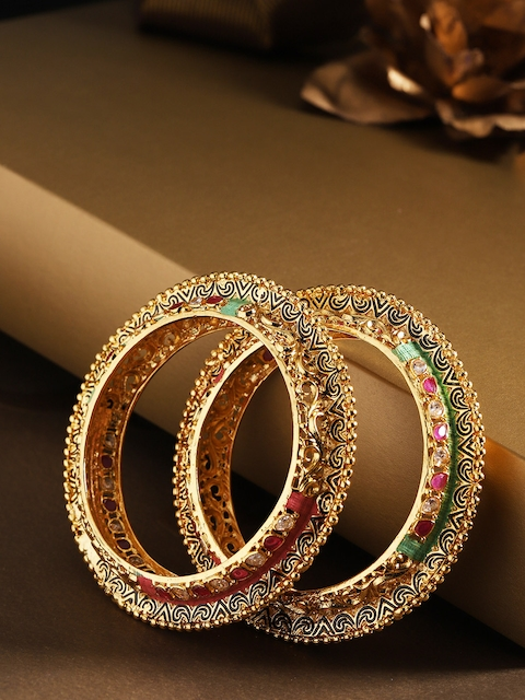 Priyaasi Set of 2 Pink Gold-Plated Stone Studded Hand Painted Bangles