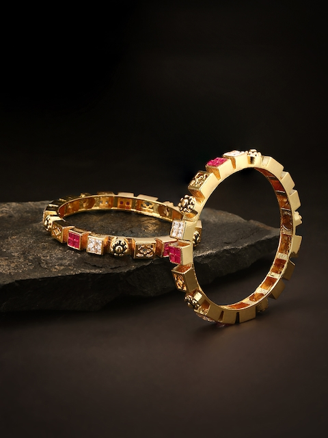 Priyaasi Set of 2 Pink & Black Gold-Plated Stone-Studded Handcrafted Bangles