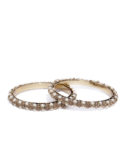 Priyaasi Set of 2 Off-White Antique Gold-Plated Beaded & Stone-Studded Handcrafted Bangles
