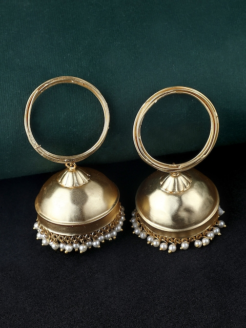 Rubans Gold-Toned & White Dome Shaped Handcrafted Elegant Pearl Embellished Jhumkas