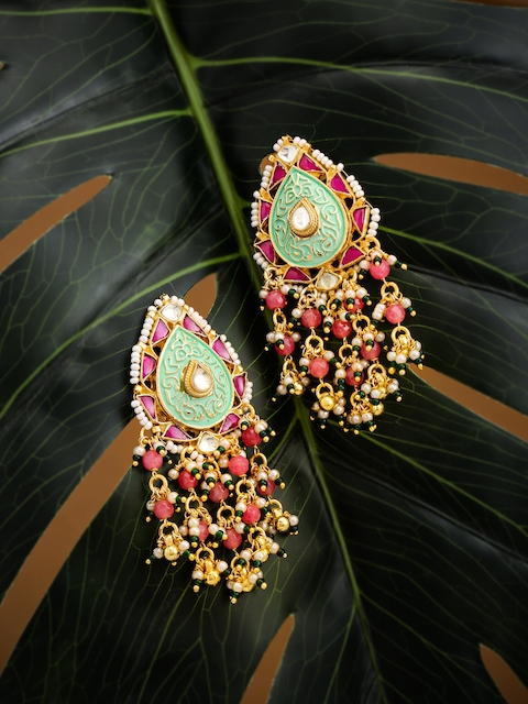 justpeachy Multicoloured Contemporary Gold-Plated Drop Earrings