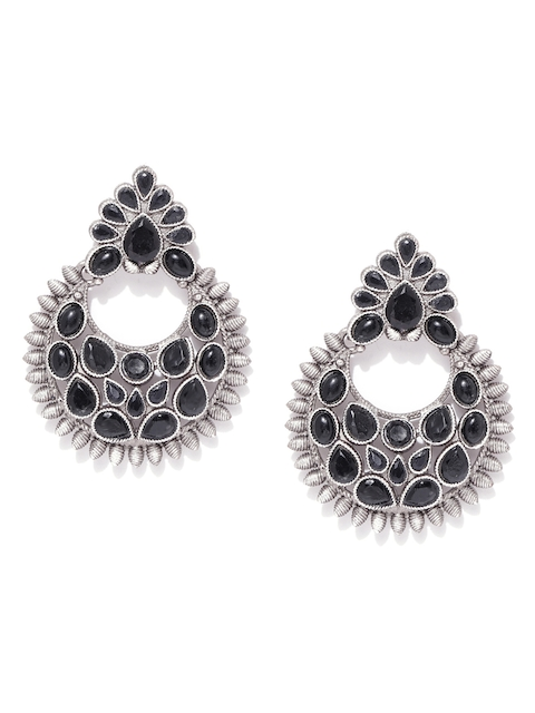 Priyaasi Black Silver Plated German Silver Oxidised Crescent Shaped Chandbalis