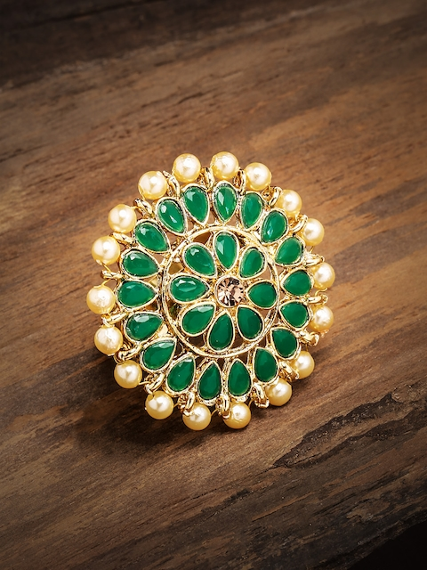 Zaveri Pearls Green Green Gold-Plated Stone Studded Adjustable Finger Ring