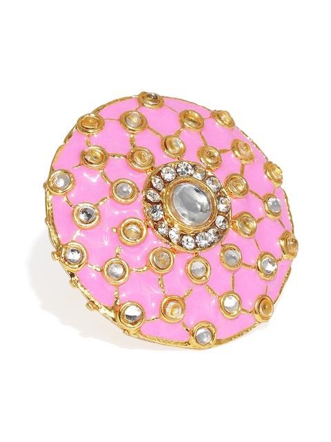 Zaveri Pearls Gold-Plated & Pink Meenakari Adjustable Finger Ring