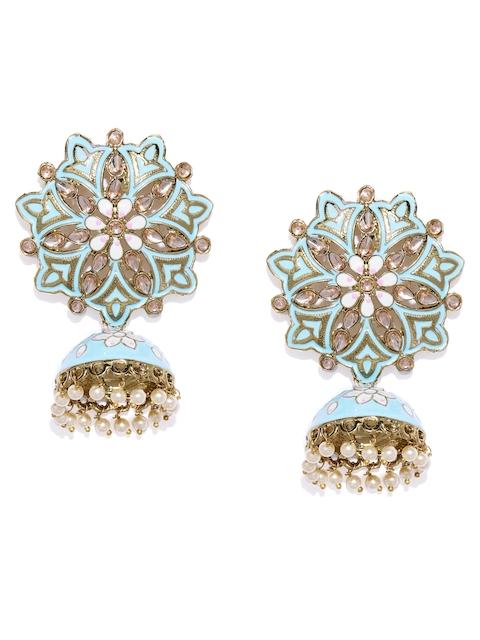 Zaveri Pearls Gold-Toned & Blue Dome Shaped Jhumkas