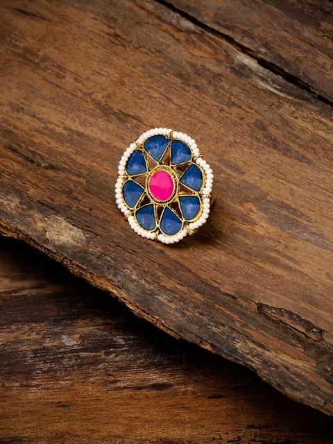 Zaveri Pearls Women Blue Beaded Enamelled Finger Ring