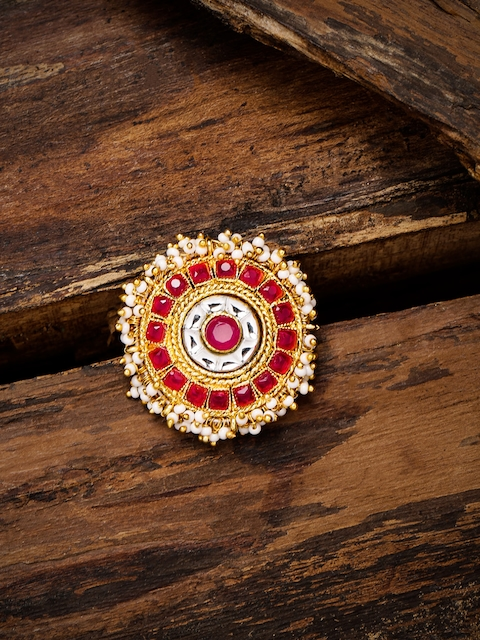 Zaveri Pearls Women Gold-Toned & Red Traditional Finger Ring