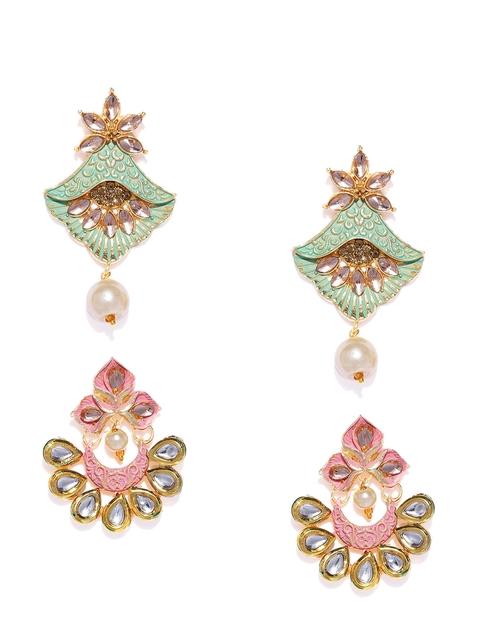 Zaveri Pearls Set Of 2 Gold-Toned Contemporary Drop Earrings