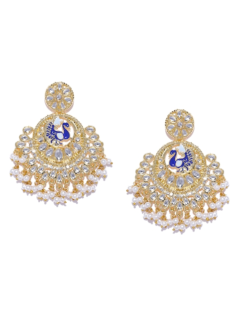 Zaveri Pearls Gold-Toned & White Peacock Shaped Chandbalis
