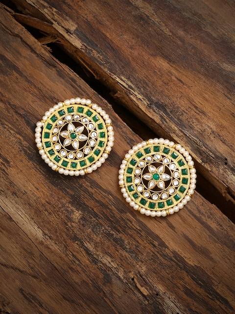 Zaveri Pearls Gold-Toned & Green Over-sized Circular Studs