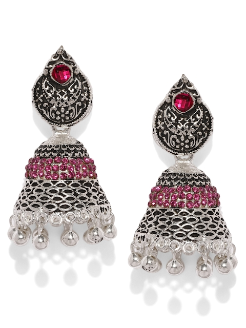 Zaveri Pearls Silver-Plated & Pink Dome Shaped Jhumkas