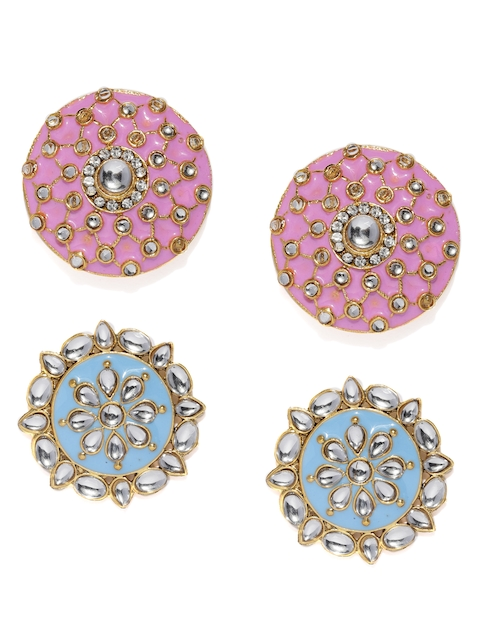 Zaveri Pearls Set of 2 Gold-Toned Circular Ovesized Studs