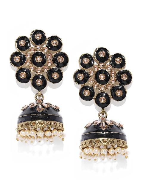 Zaveri Pearls Gold-Toned & Black Dome Shaped Enamelled Jhumkas