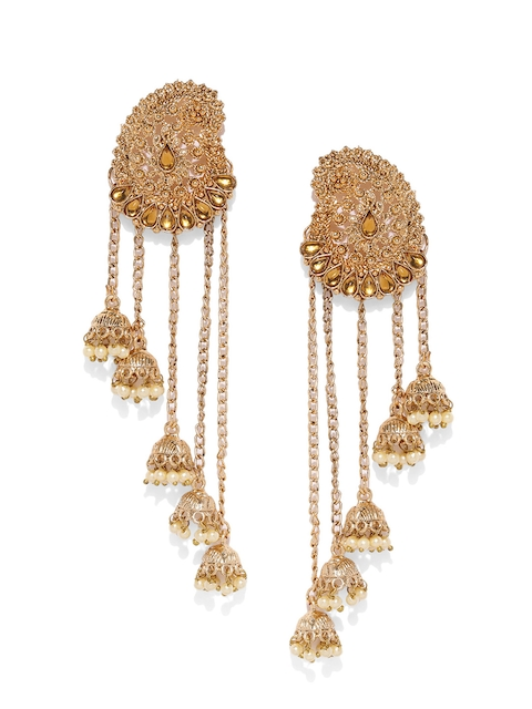 Zaveri Pearls Gold-Plated Antique Classic Drop Earrings