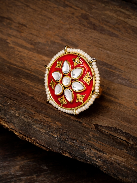 Zaveri Pearls Women Gold-Toned & Red Meenakari Finger Ring