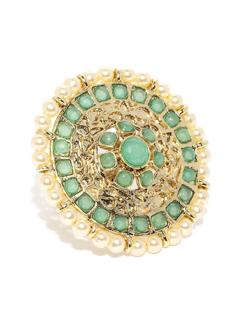 Zaveri Pearls Women Gold-Toned & Green Gold-Plated Finger Ring