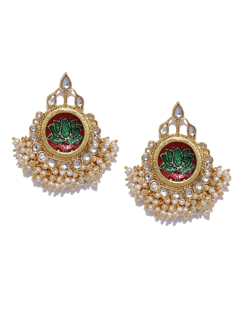 Zaveri Pearls Gold-Toned & Red Crescent Shaped Drop Earrings