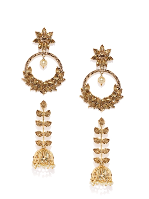 Zaveri Pearls Set of 2 Gold-Plated Dome Shaped Drop Earrings