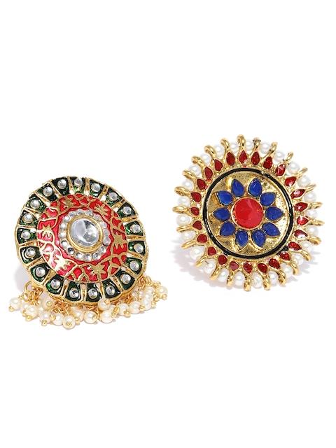 Zaveri Pearls Women Set Of 2 Enamelled Adjustable Finger Rings