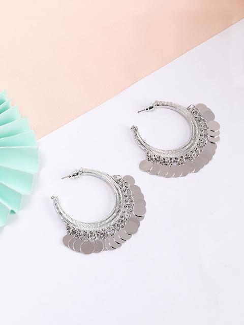 Rubans Silver-Plated White Circular Handcrafted Half Hoop Earrings