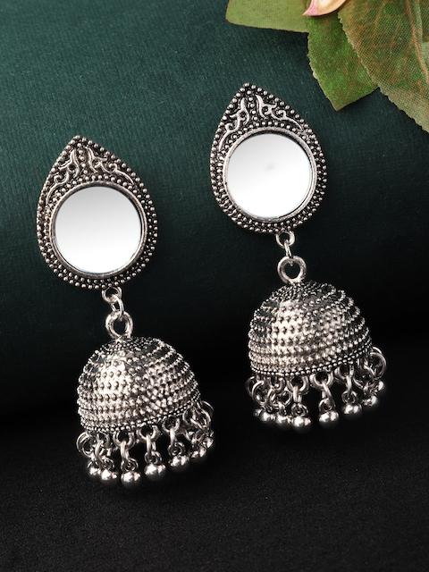Rubans Silver-Plated & White Dome Shaped Oxidised Jhumkas