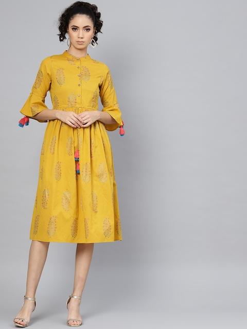 SASSAFRAS Women Mustard Yellow & Pink Printed A-Line Dress