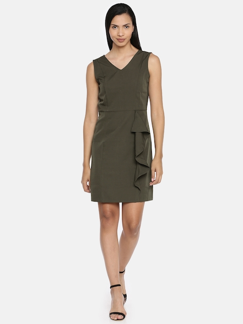 AND Women Olive Green Solid Sheath Dress