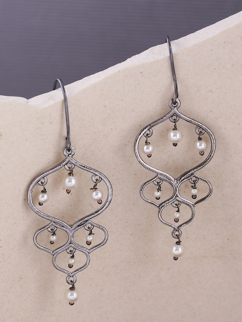 Voylla Black Rhodium-Plated Contemporary Jaali Pearl Drop Earrings