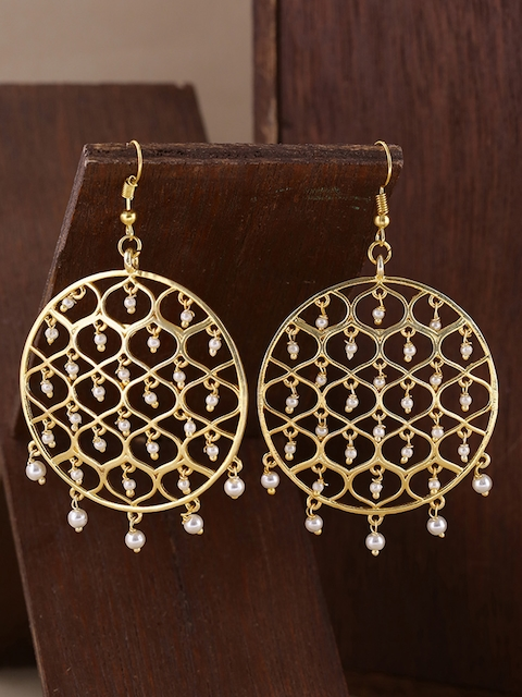 Voylla Gold-Plated Circular Jaali Pearl Filigree Drop Earrings