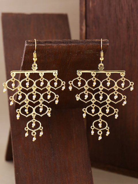 Voylla Brass-Plated Gold-Toned Jaali Pearl Grapevine Contemporary Drop Earrings