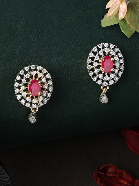 Rubans Gold-Toned & Red Classic CZ Studded Drop Earrings