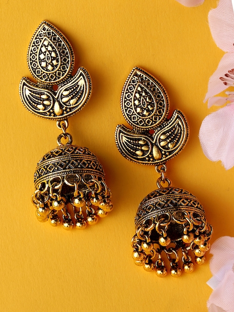 Rubans Antique Gold-Toned Dome Shaped Jhumkas