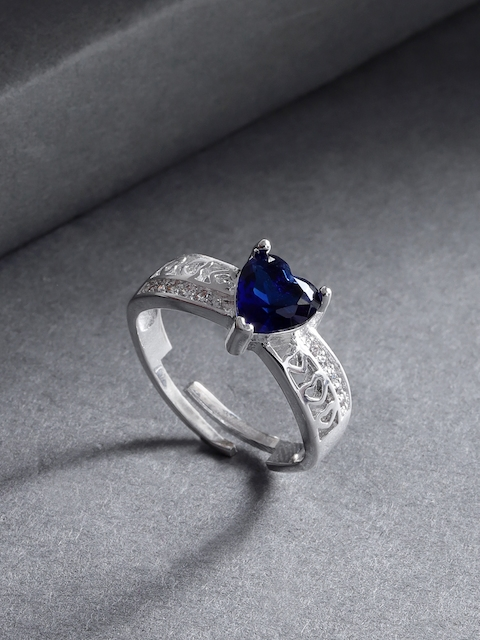 Jewels Galaxy Navy Blue Silver-Plated Stone Studded Handcrafted Adjustable Finger Ring
