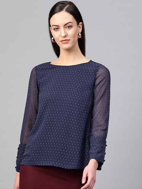 RUNWAYIN Women Navy Blue Self-Design Top