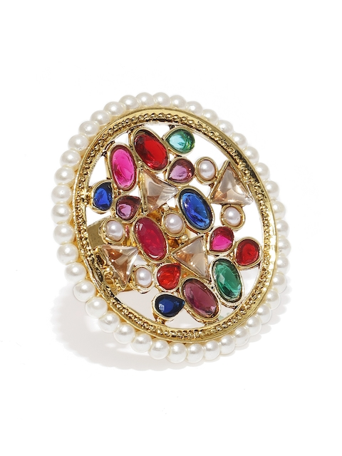 Zaveri Pearls Gold-Plated Antique Stone Studded Finger Ring