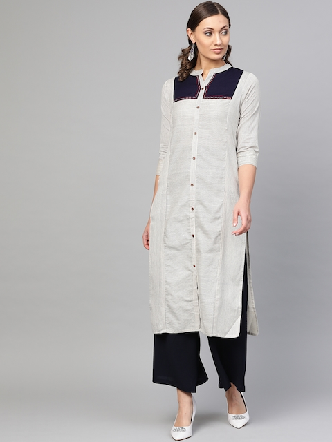 KSUT Women Off-White & Navy Blue Striped Straight Kurta