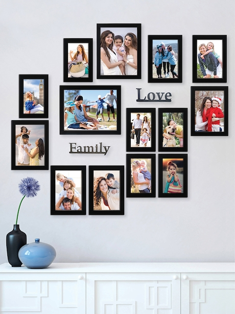 RANDOM Set of 14 Black Solid Rectangular Synthetic Photo Frames With Family & Love Plaques
