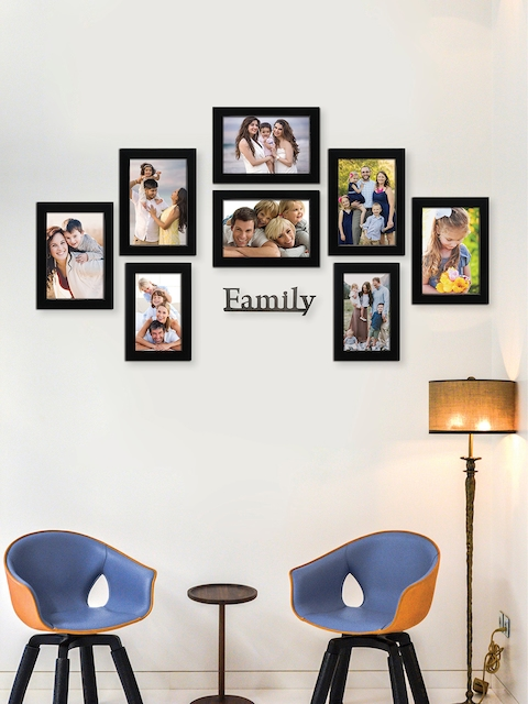 RANDOM Set of 8 Black Solid Individual Wall Photo Frames With Plaque